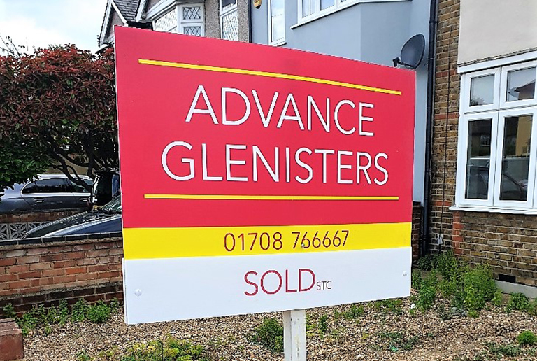 Advance Glenisters Estate Agency Sales Board